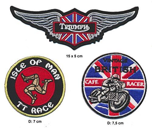 Cafe Racer Isle of Man Triumph Parche para Planchar Parches 3Pieza Moto England A5