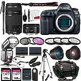 Canon EOS 5D Mark IV DSLR Full Frame Camera with EF 50mm F1.8 STM Lens + EF 75-300mm F4-5.6 III Lens...