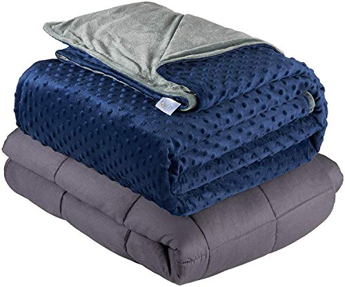 """Quility Weighted Blanket for Kids or Adults - Heavy Heating Blankets for Restlessness (41""""x60"""", 10 lbs), Grey, Navy Cover"""