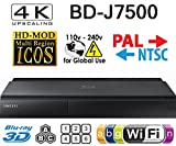 SAMSUNG J7500 - 2K/4K Upscale - 2D/3D - Wi-Fi - Dual HDMI - Region Free Blu Ray Disc DVD Player - PAL/NTSC - USB - 100-240V 50/60Hz for World-Wide Use & 6 Feet Multi System HDMI Cable