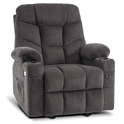 Mcombo Manual Glider Rocker Recliner Chair with Cup Holders for Nursery, USB Ports, 2 Side & Front Pockets, Plush Fabric 8002 (Grey Fabric)