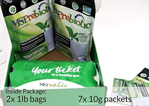 Prebiotic Powder Fiber Supplement: UNFLAVORED Digestive Gut Health Prebiotics by MSPrebiotic. Best Natural Superfood Health Supplements Feed Probiotics for Women, Men. Pre Workout Energy (Gift Box) 5