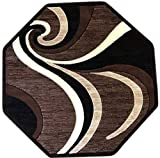 Modern Octagon Area Rug Dark Brown Americana Design 144 (4 Feet X 4 Feet)