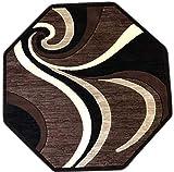 Americana Modern Octagon Area Rug Dark Brown Design 144 (4 Feet X 4 Feet)