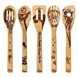 Halloween Gift Idea Utensil Burned Wooden Spoons Set House Warming Wedding Present Slotted Spoon 5 Piece