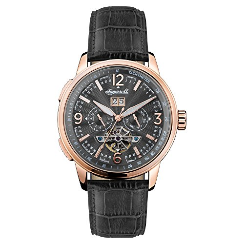 Ingersoll Men's The Regent Automatic Watch with Black Dial and Black Leather Strap I00302