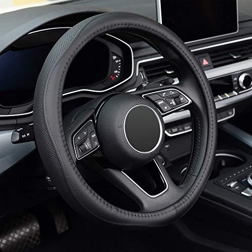 KAFEEK Steering Wheel Cover, Universal 15 inch, Microfiber Leather, Anti-Slip, Odorless, Black Lines