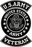 Large US Army Veteran Patches Set for Bikers Motorcycle Jacket or Vest