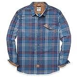 Dubinik Chemise entièrement boutonnée à manches longues en flanelle, motif carreaux, en coton, coupe droite, pour homme - - Taille XL