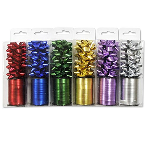 131957 - Set de Lazos y Cintas para Regalo, 6 Colores Diferentes (24 Lazos y 6 Rollos de Cinta)