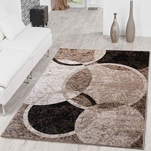 Tappeto Con Design A Cerchio Tappeto Moderno Per Soggiorno Marrone Beige Nero Mlange, Gre:80x150 cm