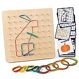 Coogam Geoboard di Legno con Carte di Pattern di attività e Bande di Gomma - 8x8 Pin Geometria...