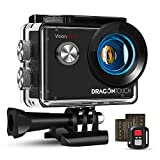 Dragon Touch 4K Action Camera, 20MP EIS Anti-shake Support External Microphone Underwater 100ft Waterproof Camera with Mounting Accessories Kit - Vision 4 Lite
