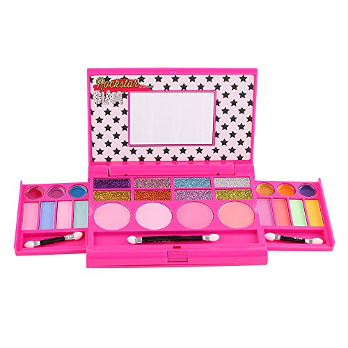 Rockstar Glam Kids Pretend Play Makeup Kit - Designer Girls Makeup Palette for Kids - Packed In a Cute Colorful Vanity w/ Mirror- Non-Toxic and Washable
