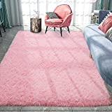 Pacapet Fluffy Area Rugs, Pink Shag Rug for Girls Bedroom, Plush Furry Rugs for Living Room, Fuzzy Carpet for Kid's Room, Nursery, Home Decor, 4 x 6 Feet