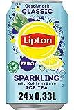 LIPTON ICE TEA Sparkling Zero Classic, Kohlensäurehaltiger Eistee mit Zitronen Geschmack ohne Zucker (24 x 0.33l)
