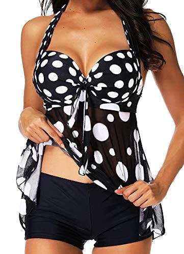INSTINNCT Damen Retro Push Up Gepolsterter Bauchweg Figurumspielender Tankini Set mit Bügel Raffung Röckchen Effekt Oberteil Hotpants Schwarz L