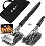 grilljoy 4PC Heavy Duty Grill Brush and Scraper with Carrying Bag - Exclusive Grill Cleaning Kit with Extra BBQ Wire Brush Head - Perfect BBQ Brush for Gas Grill Cleaning for Men Gift