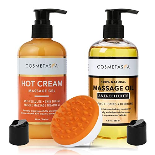 Anti-Cellulite Massage Oil, Gel & Mitt - 100% Natural Cellulite Treatment with Hot Cream Massage Gel, Oil & Massager - Penetrates Skin to Break Down Fat Tissue - Firm, Tone, Tighten & Moisturize Skin 1