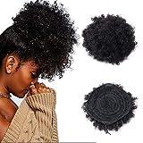 Afro Kinky Cabello humano rizado Pelucas, Natural africano Puff Cordón Cola de Cabello Cola de...