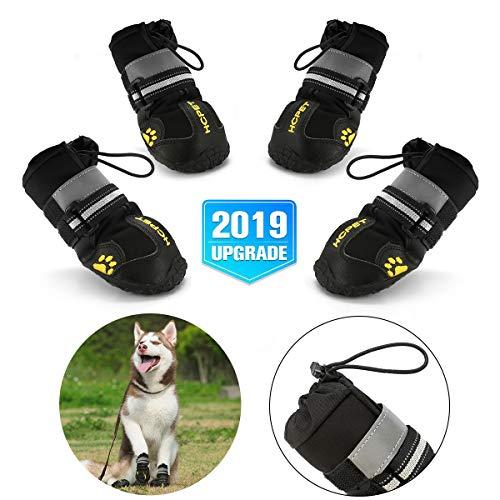 Hcpet Pfotenschutz für Hunde, Hundeschuhe Pfotenschutz wasserdicht mit abriebfester, Innen Robustes Anti-Rutsch- und Gummiband Design für mittelgroße und große Hunde