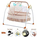 CBBAY Electric Cradle Baby Swing Bed Automatic Bassinet Baby Basket Newborn Crib Rocking Multifunction Music Cradle Baby Product (Yellow)