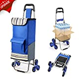 2020 Upgraded Folding Shopping Cart Stair Climbing Cart with Quiet...