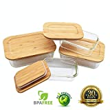 Glass Food Storage Containers with Lids | 8 Pc Set for Kitchen Storage, Lunch Containers, Baby Food, Meal Prep, Leftovers etc | Eco Friendly Plastic Free Tupperware & Sustainable Bamboo Lids | 4 Sizes