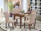 5Pc Dining Set Includes a Rectangle Dinette Table with Butterfly Leaf and Four Parson Chairs with Light Fawn Fabric, Mahogany Finish