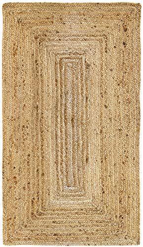 HAMID Iuta Tappeto Alhambra - Tappeto di Juta Naturale - Tappeti 100% Fibra di Juta (80x150cm)