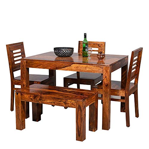 MAHIMART AND HANDICRAFTS Furniture World Sheesham Wooden Dining Table 4 Seater | Dining Table Set with 3 Chairs & 1 Bench | Home Dining Room Furniture | Honey Finish
