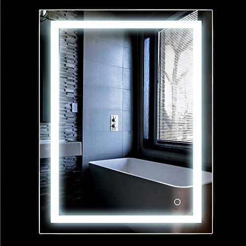 Specchio bagno, Specchio Luce LED con Illuminazione Interruttore per il Bagno, Bianco freddo, 50 * 70cm