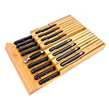 In-Drawer Bamboo Knife Block Holds for 16 Knives(Not Included) and Knife Sharpener, Knife Organizer Drawer Insert for Kitchen Cooking/Chef Skills, Saves Kitchen Counter Space