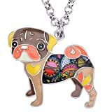 DOWAY Pug Dog Pendant Necklace Chain Jewelry Gift with Floral Enamel for Women Girls (Brown)