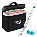 OLEEP 80 Colour Permanent Art Markers Twin Marker Pen Broad Fine Point Animation Design for Drawing Coloring with Black Bag (Office Product)