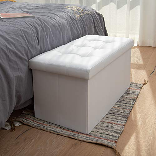 COSYLAND Ottoman Bench with Storage 30x15x15 inches White Ottoman for Room Folding Leather Ottoman Footrest Footstool Rectangle Collapsible Furniture with Lid for Bedroom Living Room