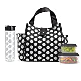 Fit & Fresh Insulated Lunch Bag Kit, includes Matching Bottle and Containers, Westport Black Double Dot