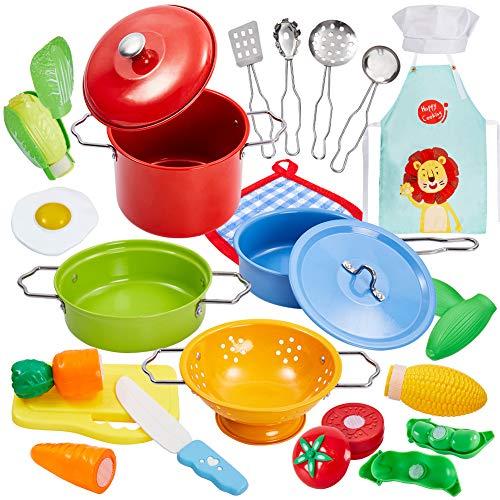 Buyger 21 Pezzi Cucina Pentole Giocattolo per Bambini Taglio Cibo Verdura Acciaio Inossidabile Accessori Cucina