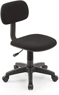 Hodedah Armless, Low-Back, Adjustable Height, Swiveling Task Chair with Padded Back and..