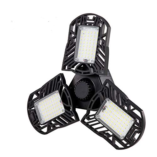 LED Garage Lights, 80W 8000LM Adjustable 3 Panels Deformable Garage Lighting E26/E27 Tribright Ceiling Shop Light for Workshop Warehouse Barn Basement