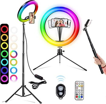 """A-TION 10"""" RGB Selfie Ring Light, 26 RGB Colors LED Ring Light with Two Tripod Stand & Phone Holder, Camera Remote Shutter, for Makeup, YouTube, TikTok, Video, Photography"""