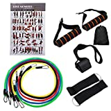 Best Bands 11-Piece Resistance Bands Set - 5 Long Stackable Workout Bands Door Anchors 2 Foam Handles 2 Metal Foot Rings & Carry Case - Elastic Work Out Band Kit for Home Fitness, Gym Exercise, Yoga