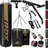 RDX 14PC Punching Bag 5ft 4ft Heavy Filled Set, Non Tear Maya Hide Leather Adult Bag Wall Bracket...