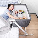 Firares Height & Incline Adjustable Baby Bedside Bassinet, Baby Bed to Bed, Easy Folding Bedside Sleeper Crib for Infant/Baby Boy/Baby Girl with Detachable Mattress, Straps, Breathable Mesh