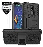 LG K40 Case, LG K12 Plus Case, LG X4 (2019) Case, LMX420 Case with Tempered Glass Screen Protector [2 Pack], SunRemex Kickstand Phone Case and Resilient Shock Absorption for LG K40 Phone (Black)