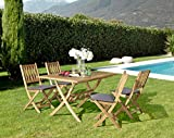 Hanie Design SG135 | Sunset Garden Series, Avenue Outdoor Folding Dining Set |, Natural Finish