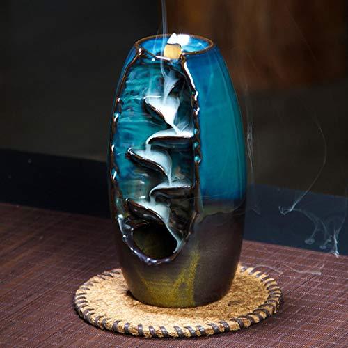 Keramik Wasserfall Weihrauch Brenner Rückfluss Räuchergefäß Brenner Weihrauch Wasserfall Home Decor Aromatherapie Ornament + 10 Kegel Weihrauch
