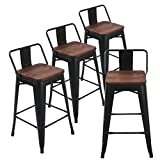 Andeworld Set of 4 Tolix-Style Counter Height Bar Stools Industrial Metal Bar Stools Low Back (26 Inch, Matte Black with Wooden Top)