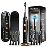 WAGNER Switzerland WHITEN+ EDITION. Smart electric toothbrush with PRESSURE SENSOR. 5 Brushing Modes and 3 INTENSITY Levels, 8 DuPont Bristles, Premium Travel Case. (Charcoal Black)