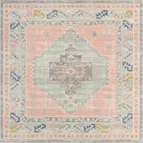 Unique Loom Whitney Collection Southwestern Geometric Powder Pink Square Rug (8' 0 x 8' 0)